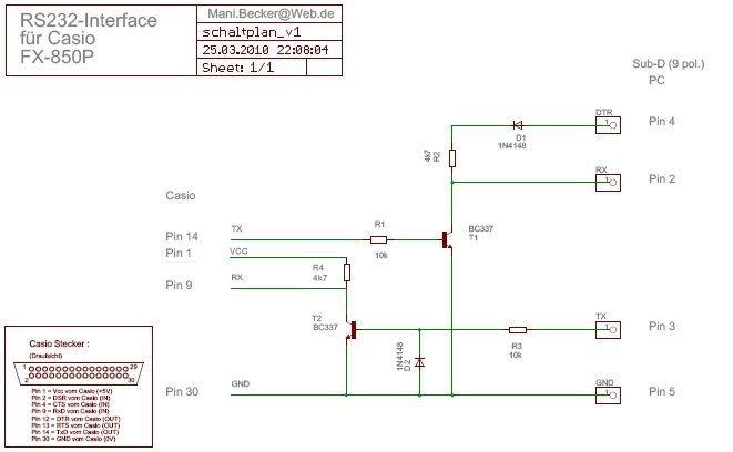 RS232 Interface für Casio FX-850P/FX-880P | Manis Blog
