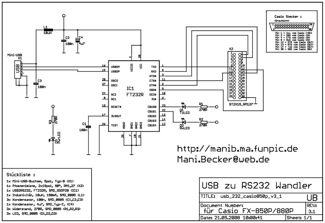 USB-Interface für Casio FX-850P/FX-880P – Platinenherstellung v3.1 ...