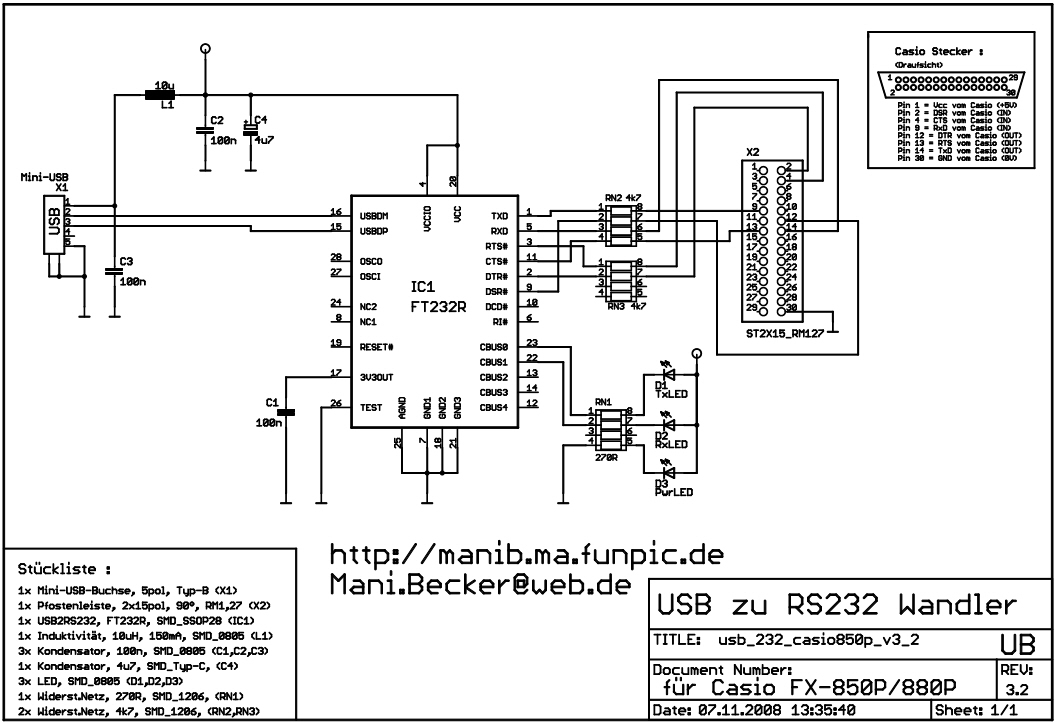 USB-Interface für Casio FX-850P/FX-880P – Platinenherstellung v3.2 ...